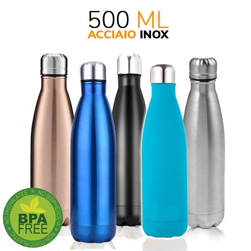 Borraccia Termica Acciaio Bottiglia acqua Portatile Termos con Temperatura 500ml