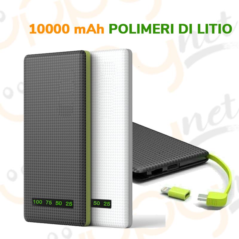 Power bank 10000 mAh carica batterie portatile iphone xiaomi
